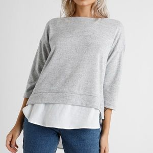 Silence + Noise Grey Woven Trim Pullover Sweater